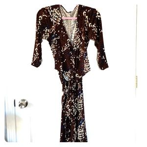 Wrap dress with brown, cream, and blue pattern